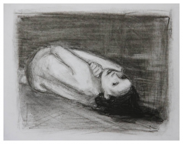 Charisse Gardiner  'Coil'  Charcoal on paper  29,5 x 34 cm