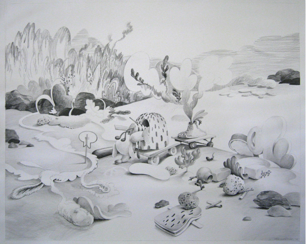Wim Legrand  'Pulling up Stakes'  Pencil on Arches HP paper  110 x 120 cm