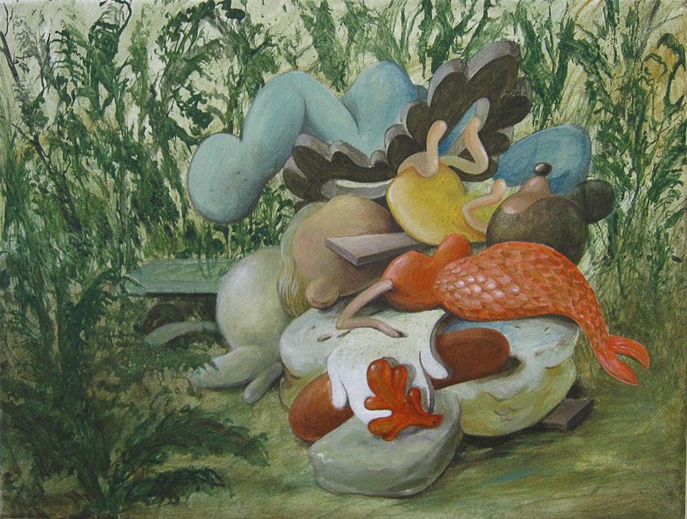 Wim Legrand  'Mermaid Stack'  Acrylic on canvas  30 x 40 cm