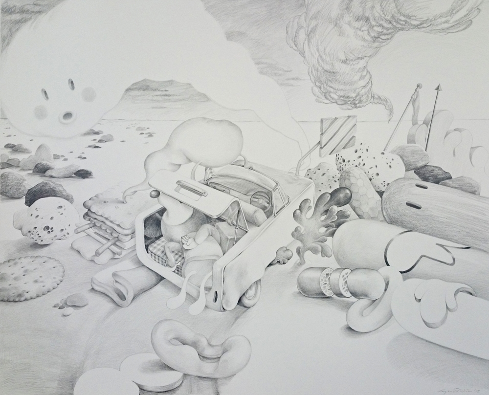 Wim Legrand  'Victim of a Confidence Trick'  Pencil on Arches HP paper  110 x 120 cm