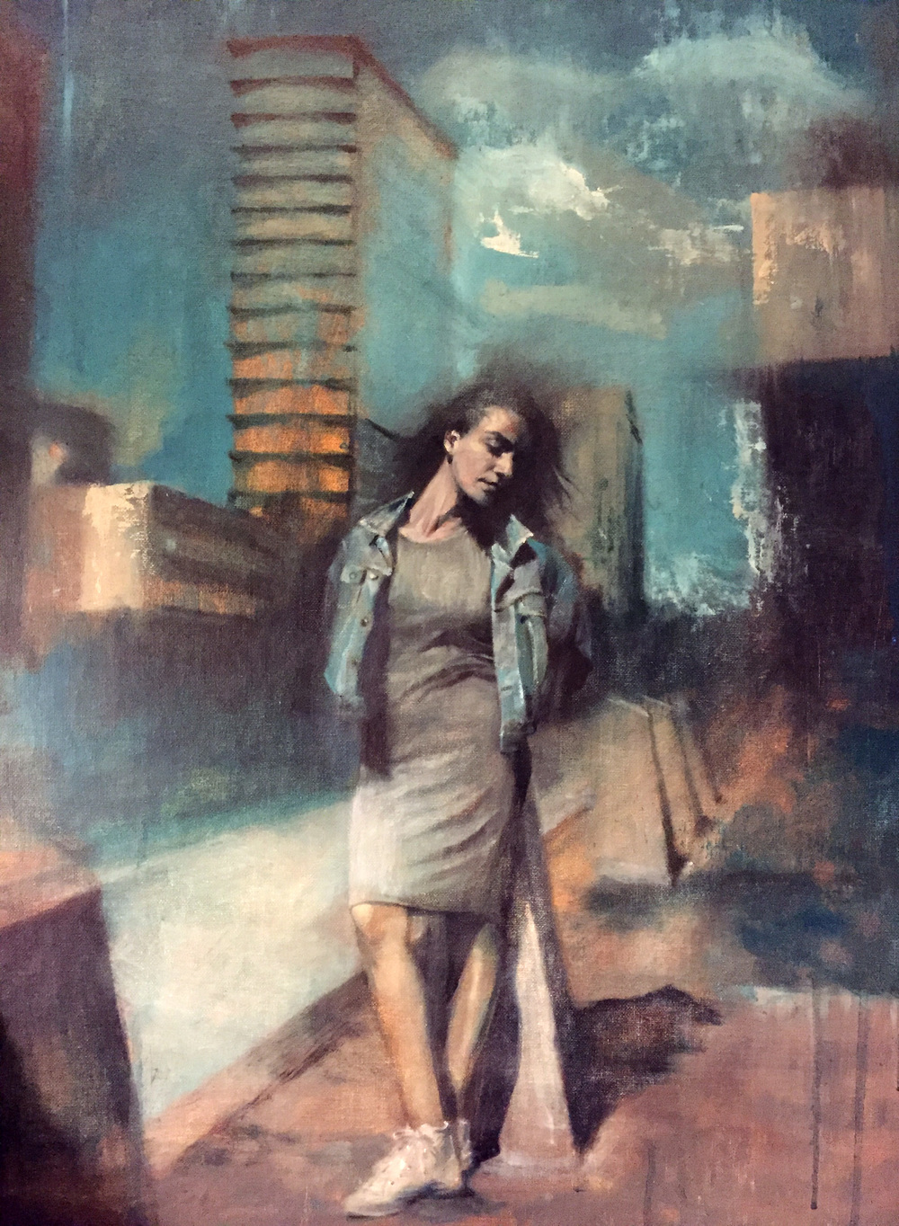 Chris Valentine  'City of Shadows'  Oil on canvas board  71 x 56 cm