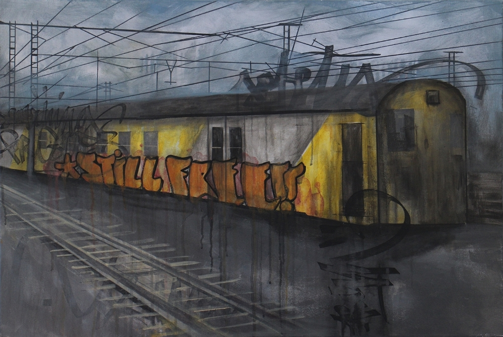 Girls & Boys  'The Yard: Sunnycove'  Mixed media on canvas  60,5 x 91,5 cm