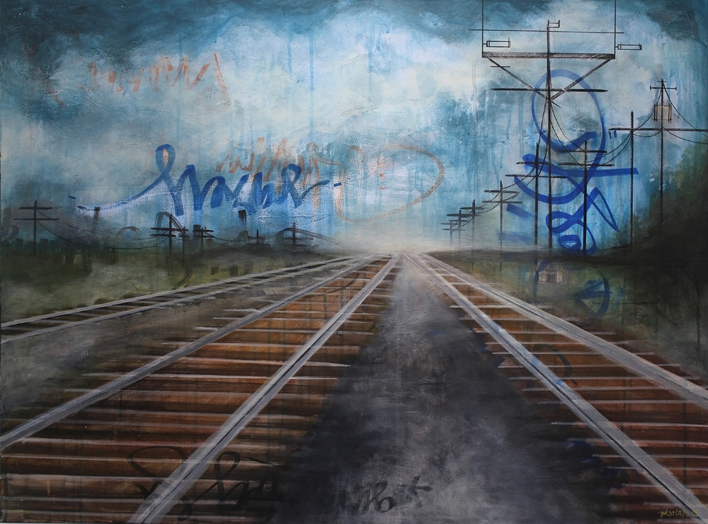 Girls & Boys  'A Journey'  Mixed media on canvas  76 x 101 cm