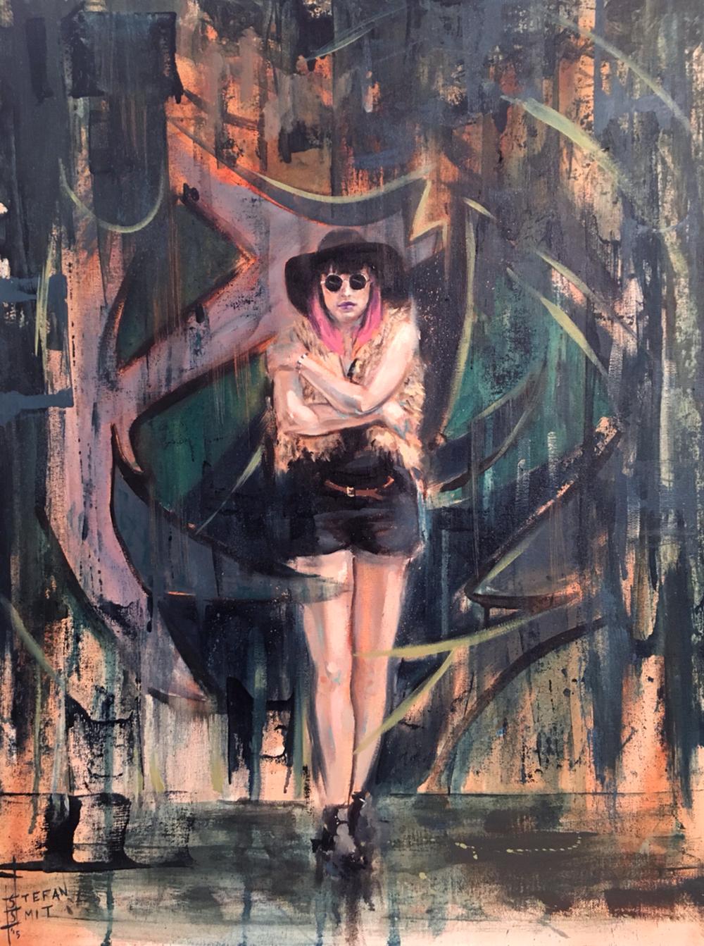 Stefan Smit  'Lines through Time'  Oil on canvas  71 x 56 cm