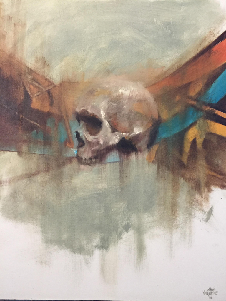 Chris Valentine  'Blueprint'  Oil on canvas board  71 x 56 cm