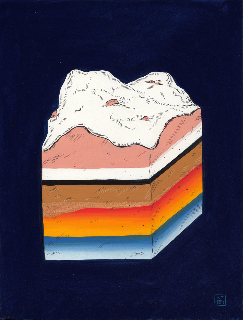 Nina Torr  'Chunk of Land'  Gouache on mounting board  19,5 x 15 cm