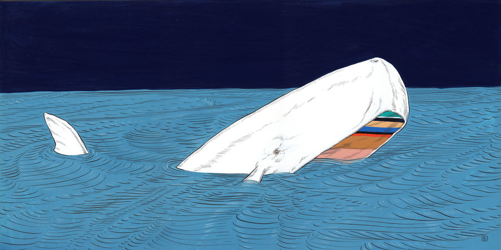 Nina Torr  'Mad Whale'  Gouache on mounting board  25,5 x 51,5 cm
