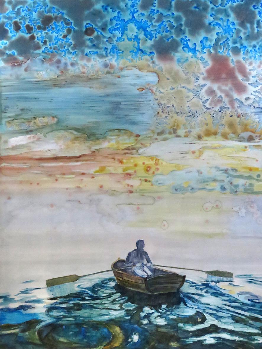 Lizza Littlewort  'The Brink'  Oil on aluminium  83 x 62.5 cm