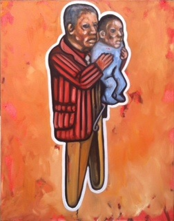 Khaya Sineyile  'Misattributed Paternity'  Oil on canvas  95 x 75 cm