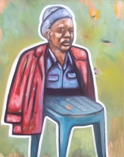 Khaya Sineyile  'Spineless Man'  Oil on canvas  90 x 70 cm