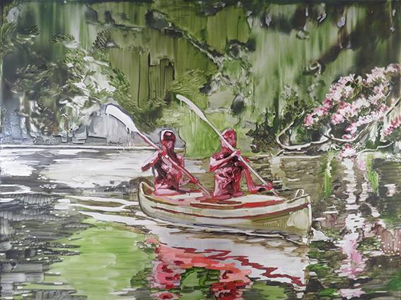 Lizza Littlewort  'The Red Canoe'  Oil on aluminium