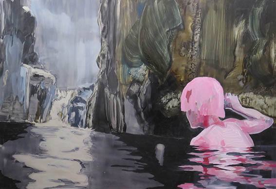 Lizza Littlewort  'The Flesh Reflection'  Oil on aluminium