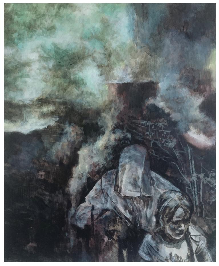 Karen Cronje  'Blockhouse Bust'  Acrylic & gouache on primed paper  42 x 34 cm