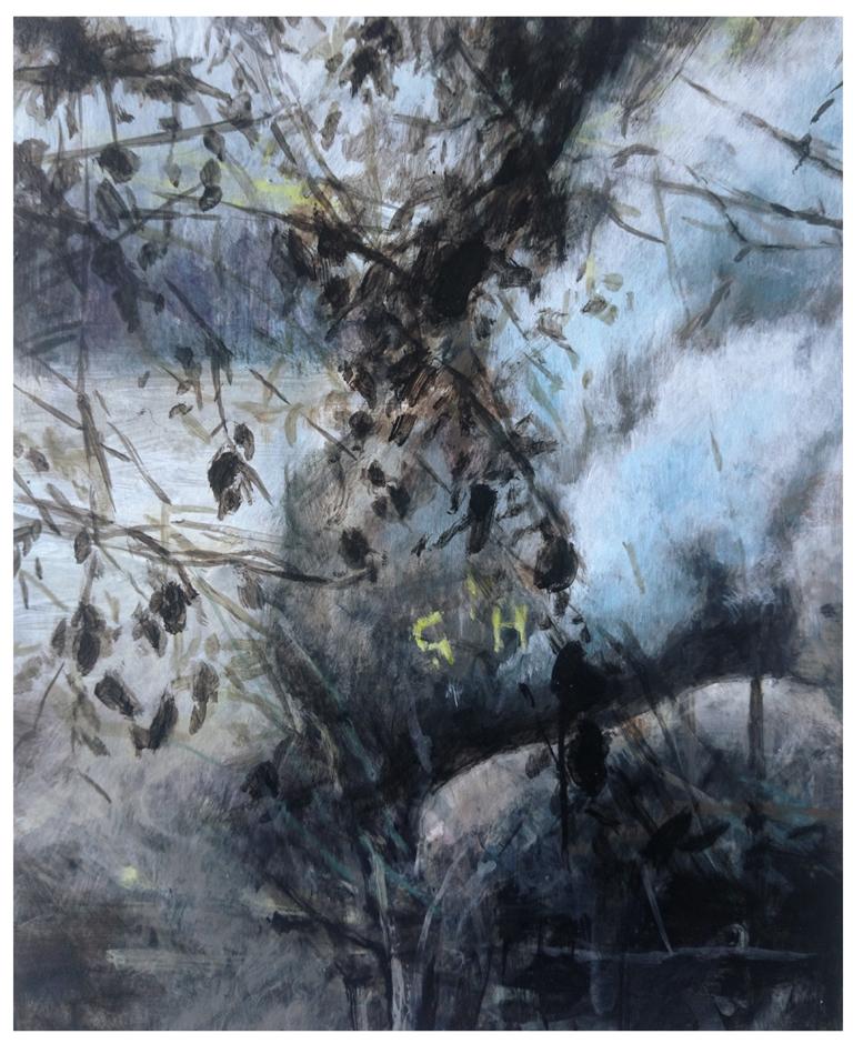 Karen Cronje  'Quotidian Amnesia'  Acrylic & gouache on primed paper  21 x 17 cm