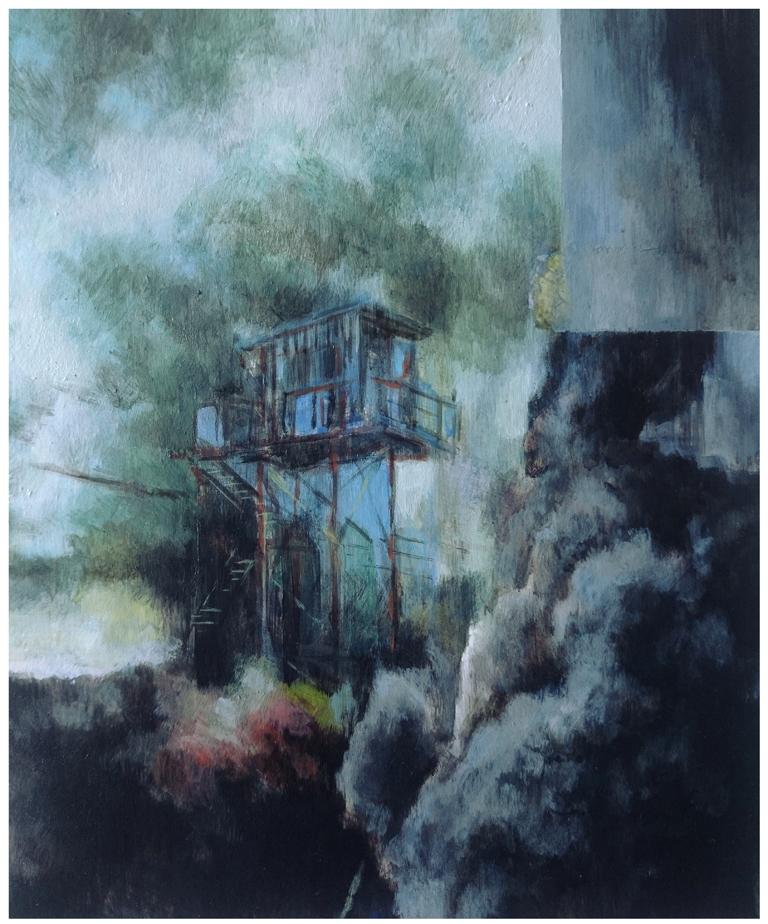Karen Cronje  'Preventative Manoeuvres'  Acrylic & gouache on primed paper  21 x 17 cm