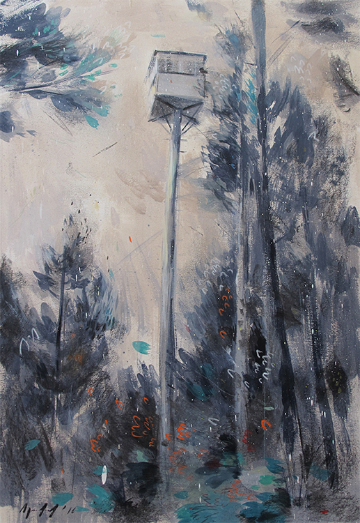 Andrew Sutherland  'The Lookout'  Mixed media on paper  58 x 40 cm