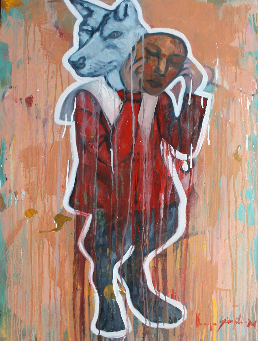 Khaya Sineyile  'Wolf in Sheep's Clothing'  Mixed media on canvas  95 x 75 cm