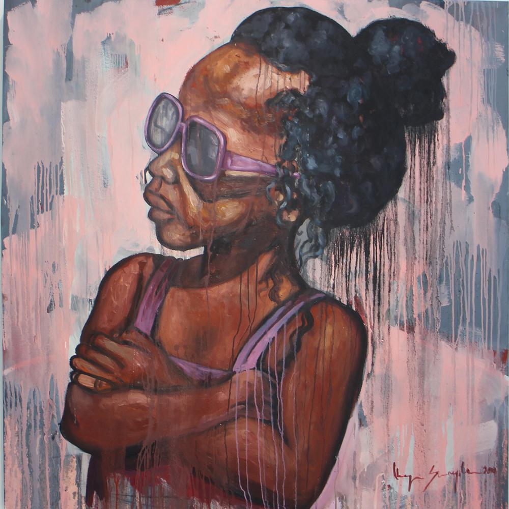 Khaya Sineyile  'Isikhova (the Owl)'  Mixed media on canvas  150 x 150 cm