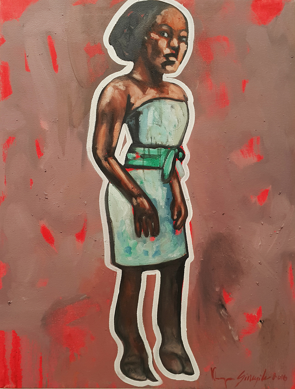 Khaya Sineyile  'Family Black Sheep'  Oil on canvas  80 x 60 cm