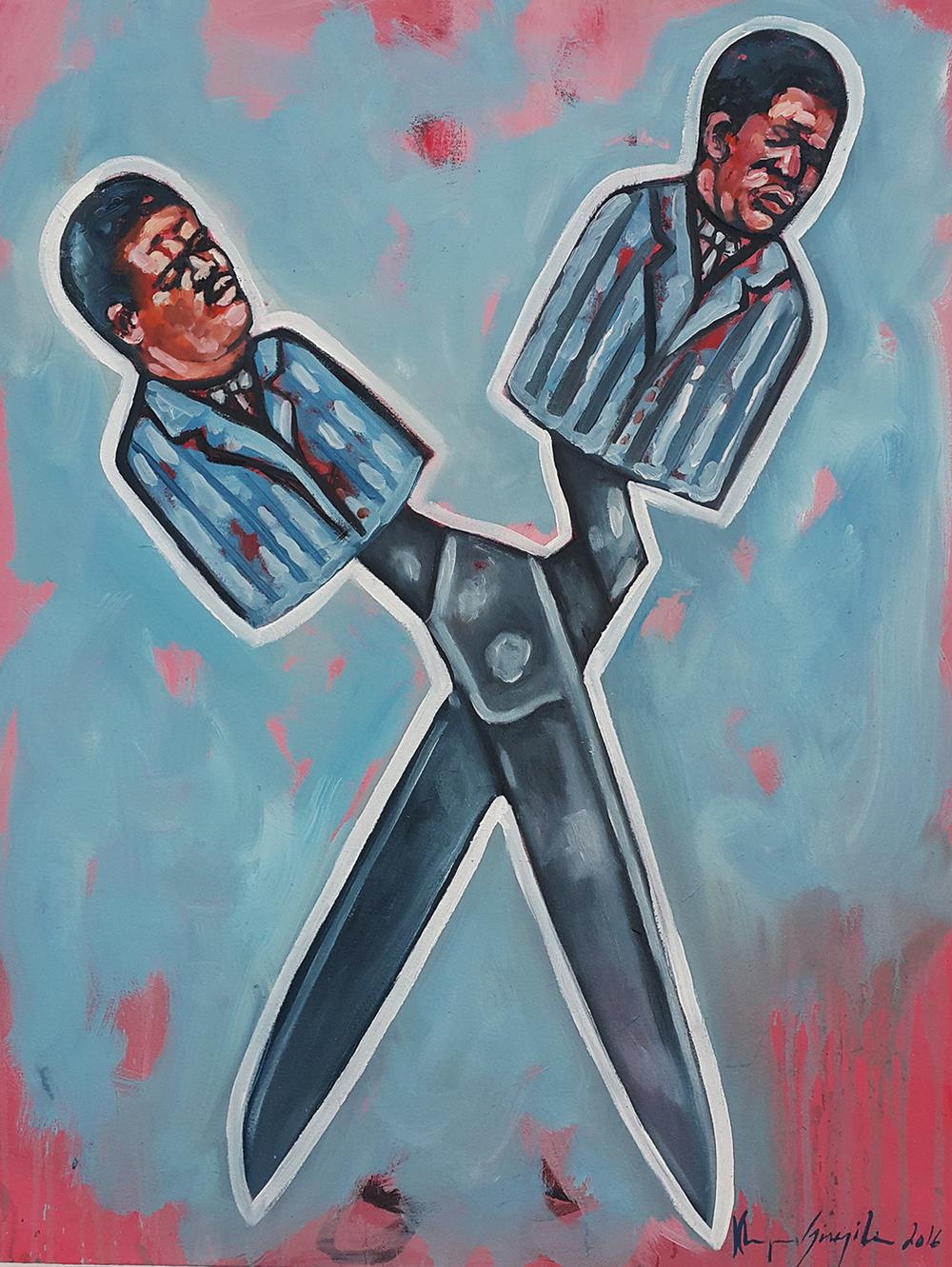 Khaya Sineyile  'Cut from the Same Cloth'  Oil on canvas  90 x 70 cm