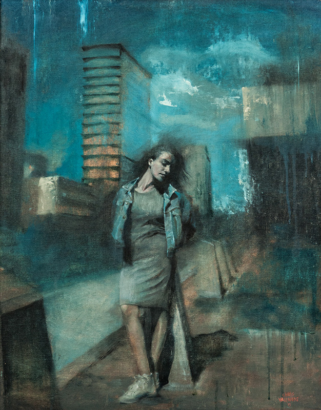 Chris Valentine  City of Shadows  Oil on canvas board  71 x 56 cm