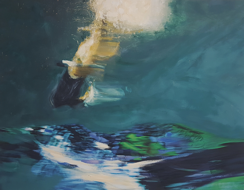 Andrew Hart Adler  Aqua Lady XIV  Mixed media and digital print on canvas  105 x 135 cm