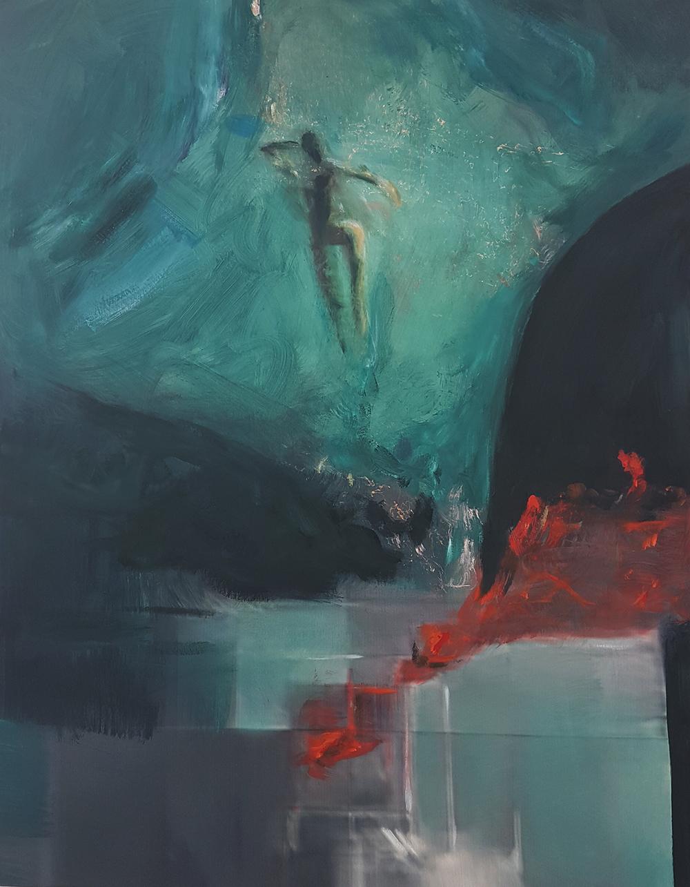 Andrew Hart Adler  Aqua Lady II  Mixed media and digital print on canvas  123 x 97 cm