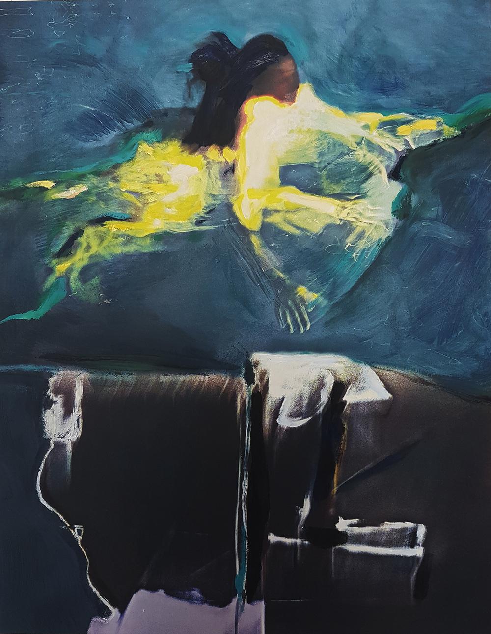 Andrew Hart Adler  Aqua Lady VII  Mixed media and digital print on canvas  123 x 97 cm