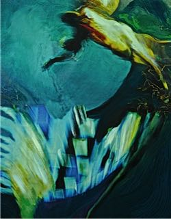 Andrew Hart Adler  Aqua Lady IX  Mixed media and digital print on canvas  97 x 77 cm