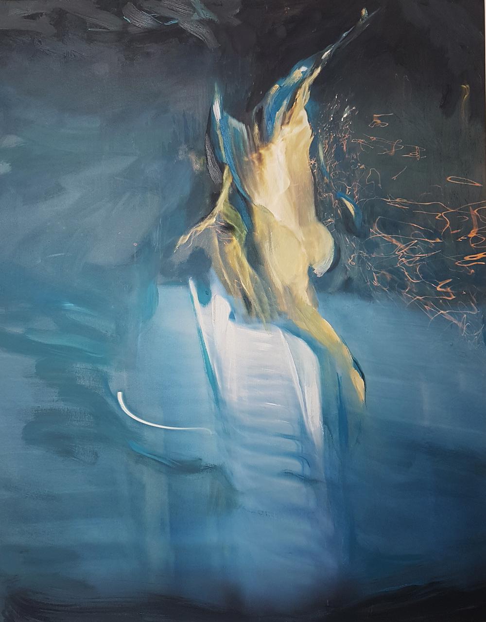 Andrew Hart Adler  Aqua Lady XVI  Mixed media and digital print on canvas  123 x 97 cm