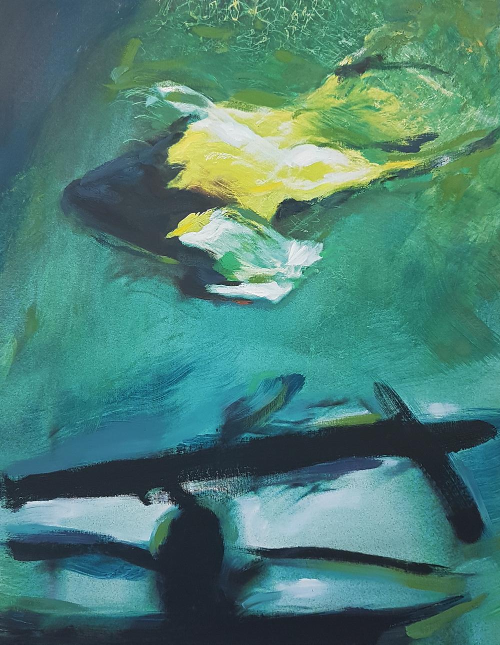 Andrew Hart Adler  Aqua Lady VIII  Mixed media and digital print on canvas  97 x 77 cm