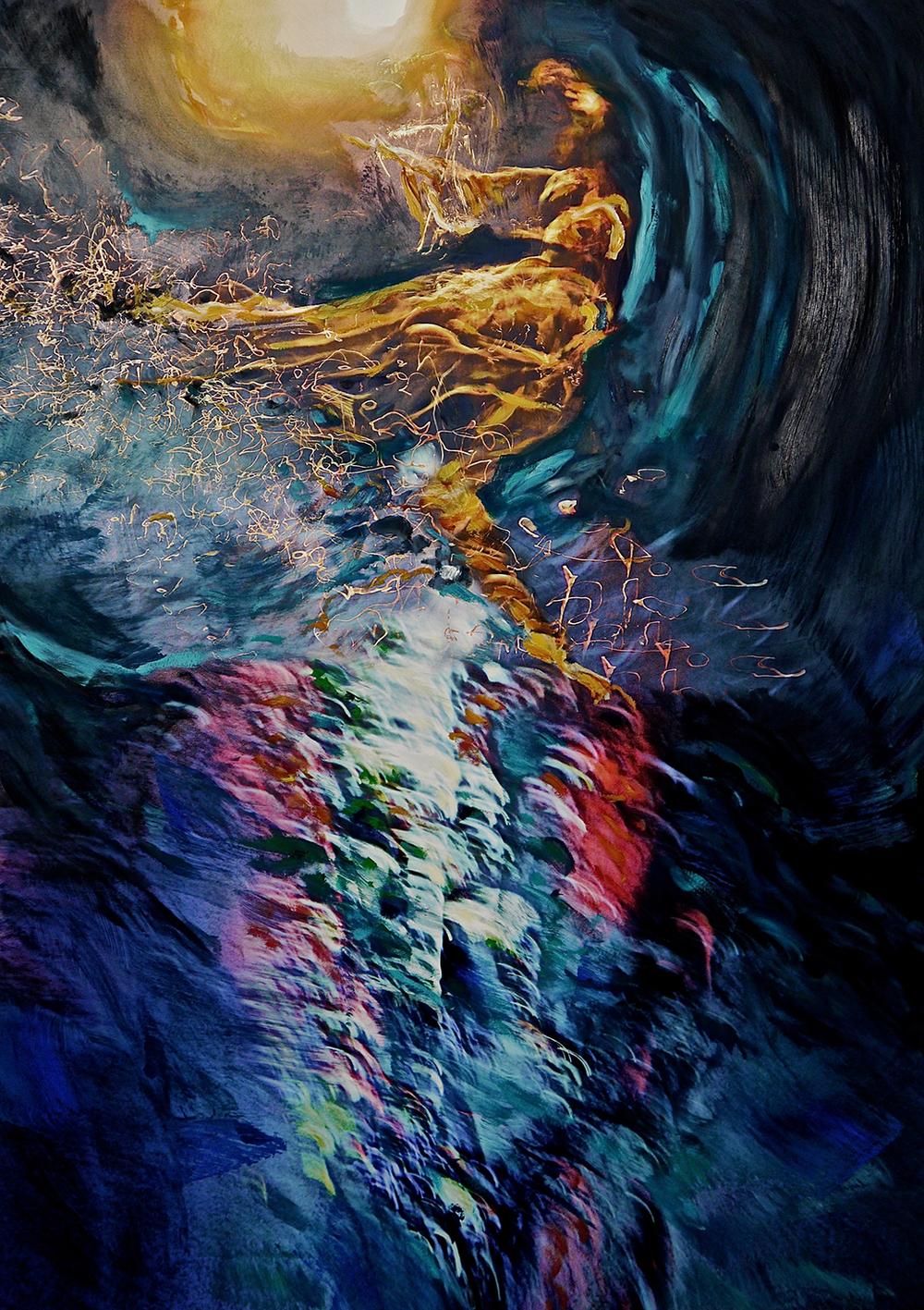 Andrew Hart Adler  Aqua Lady V  Mixed media and digital print on canvas  192 x 137 cm