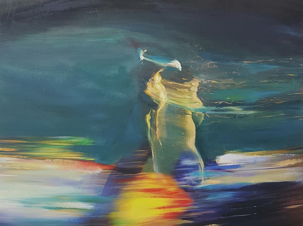Andrew Hart Adler  Aqua Lady XI  Mixed media and digital print on canvas  60 x 80 cm
