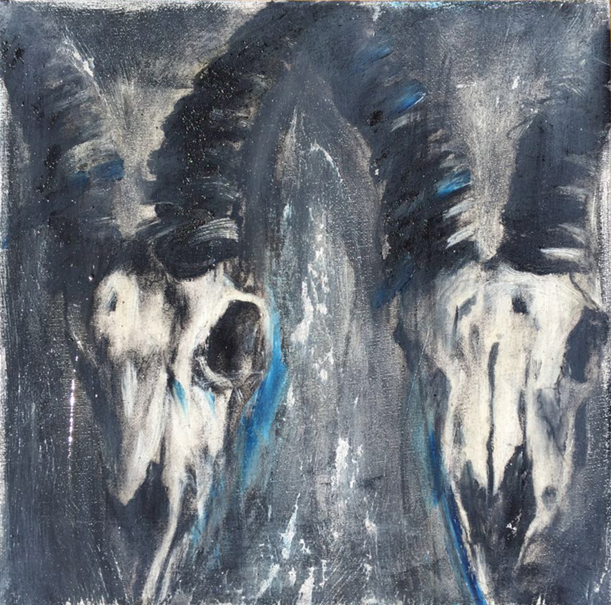 Candice Dawn Blignaut  Bone Collector 2  Mixed media on canvas  30 x 30 cm