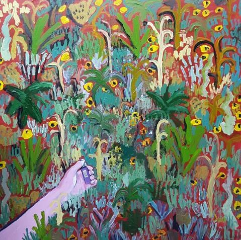 John-Michael Metelerkamp  'After a Week of Misanthropy 3'  Acrylic on panel  90 x 90 cm