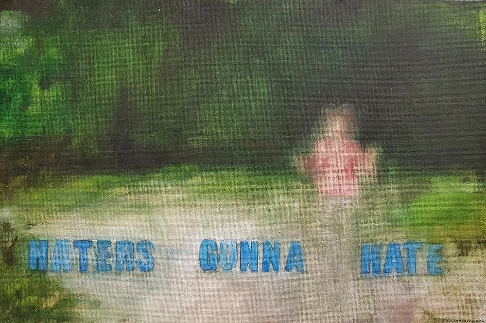 Katrine Claassens  Haters Gonna Hate (Prancercising)  Oil on board  21 x 29.7 cm