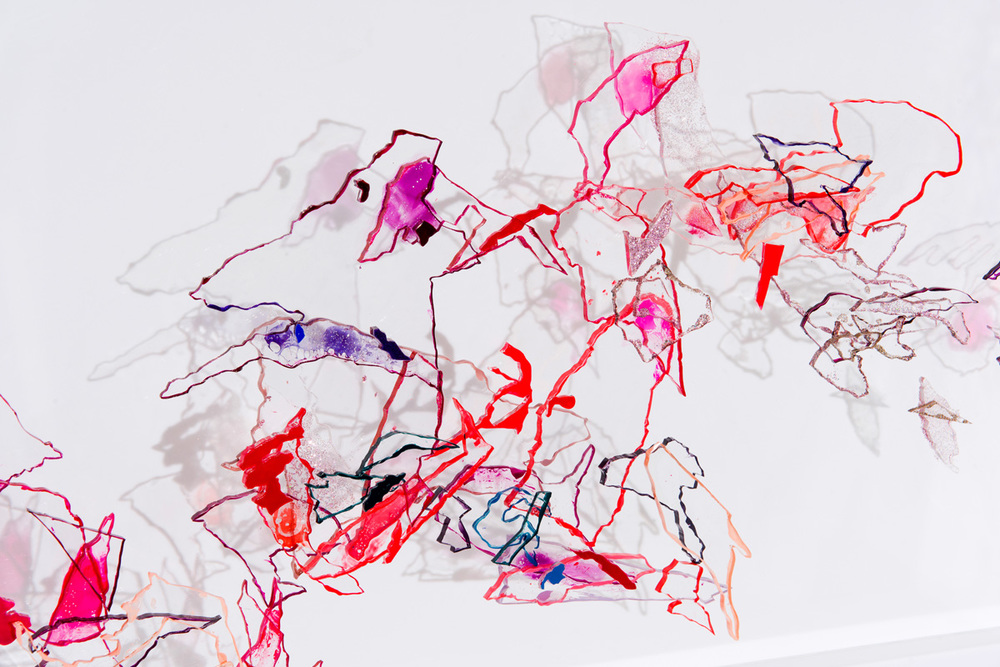 Bev Butkow  Detail from 'Trans(parent) - Trans(pose) 1'  Nail polish & acrylic  120 x 40 x 8 cm