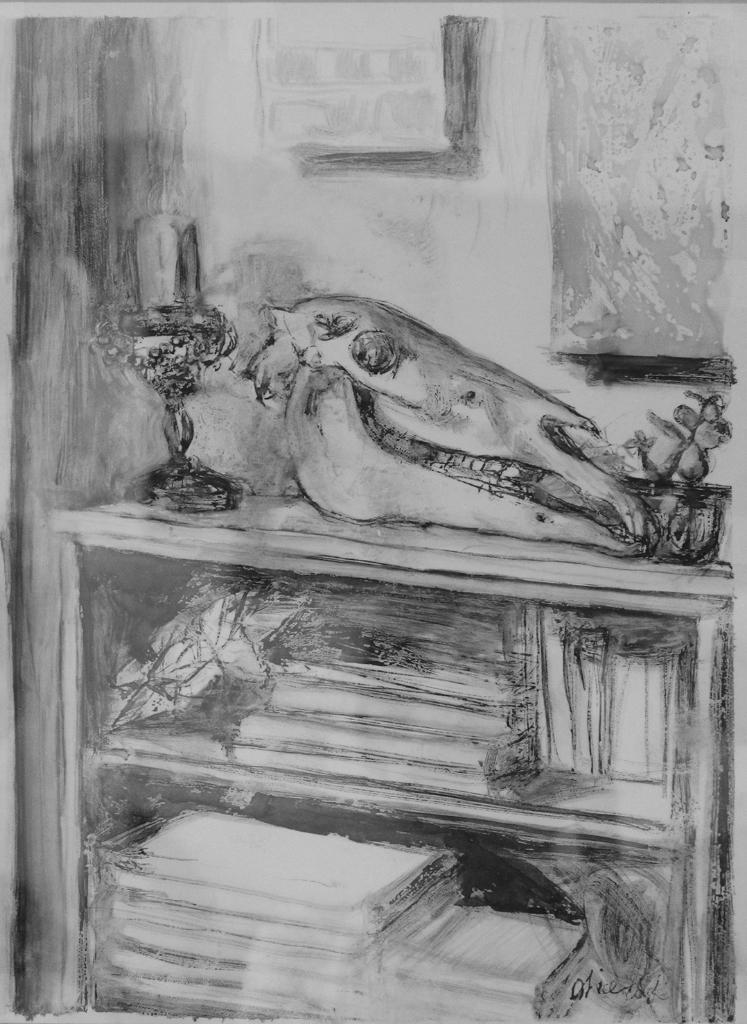 Alice Toich  'Horse Skull on my Bookshelf'  Ink on architecural drafting film  40 x 29 cm