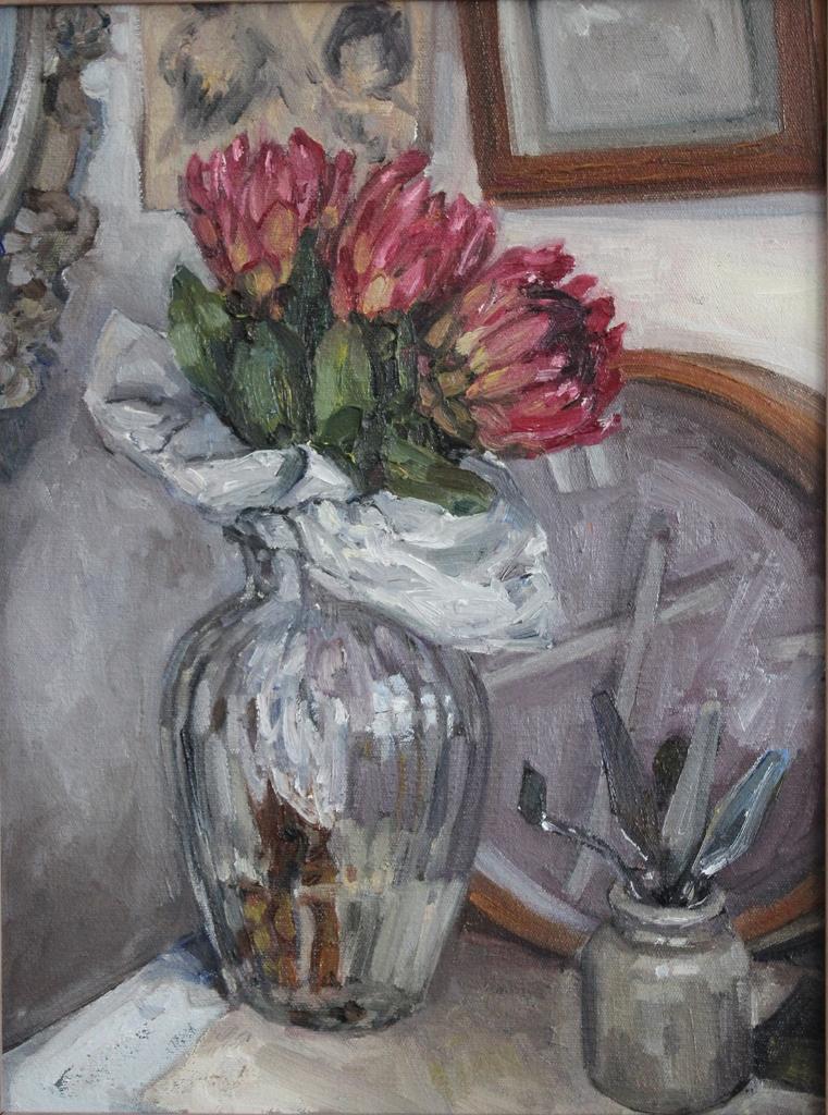 Alice Toich  'Protea Study'  Oil on canvas  39.5 x 29 cm
