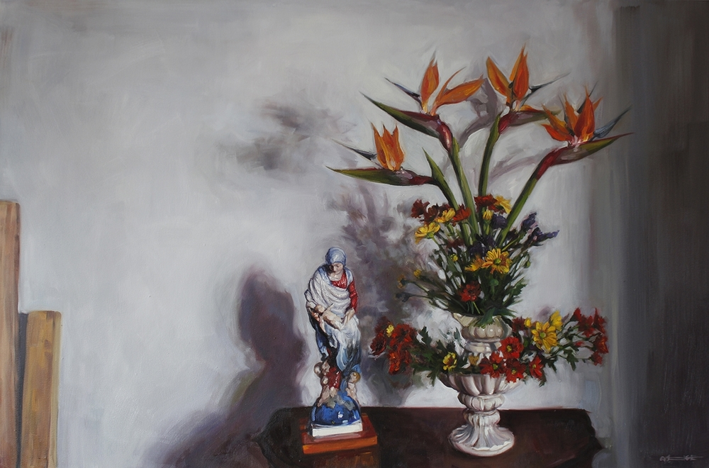 Alice Toich  'Sunday Strelitzias'  Oil on canvas  100 x 150 cm