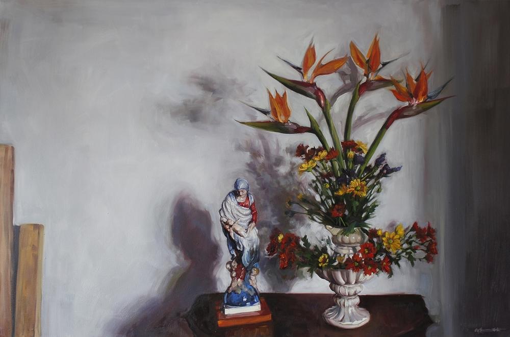 Alice Toich  'Sunday Strelitzias'  Oil on canvas  100 x 150 cm