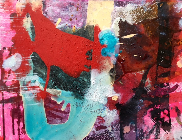 Ralph Gelbert  'Darling IV'  Mixed media on canvas  27.5 x 35.5 cm