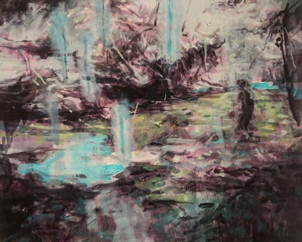 Karen Cronje  'Field'  Oil on primed paper  17 x 21 cm