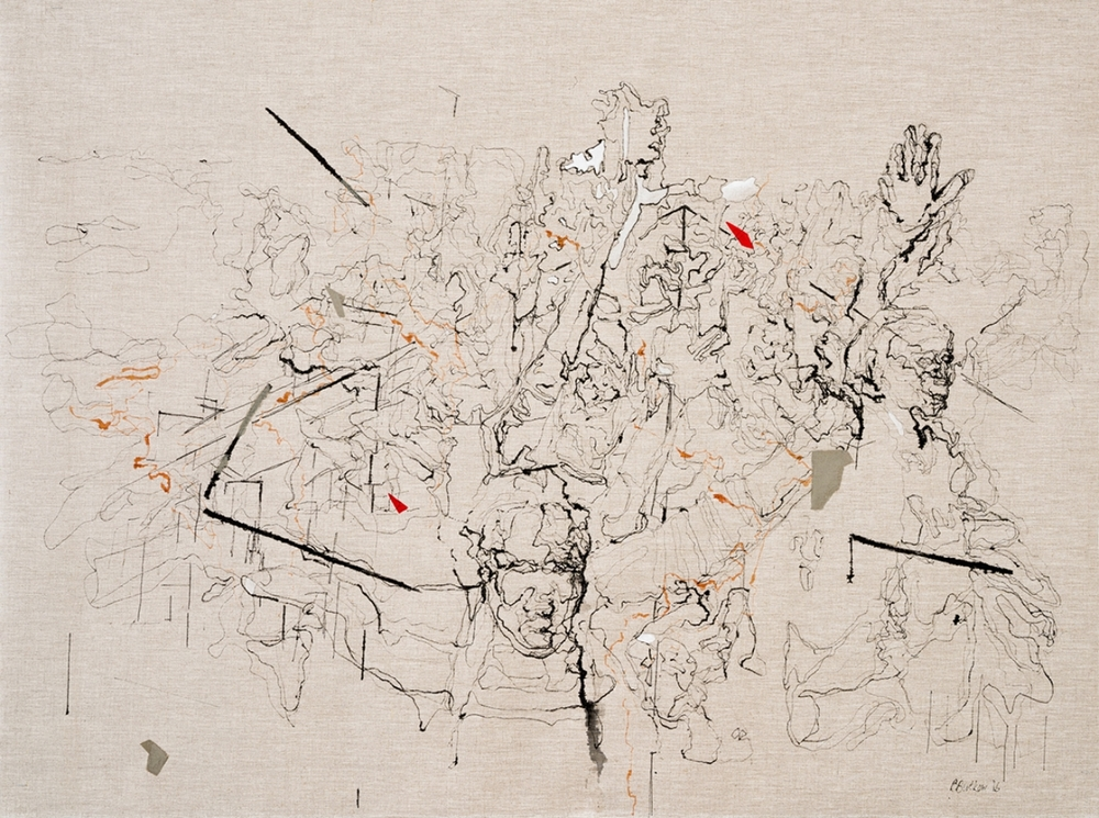 Bev Butkow  Palimpsest IV  Mixed media on linen  80 x 120 cm