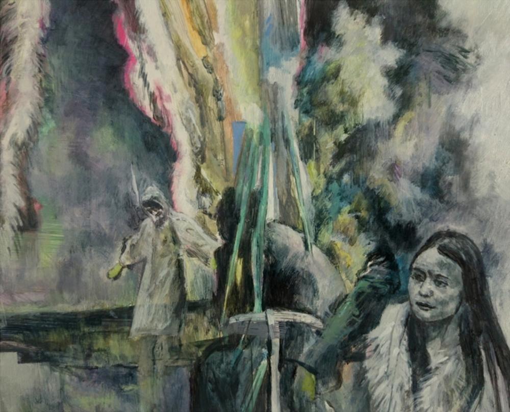 Karen Cronje  'Fall'  Oil on primed paper  17 x 21 cm