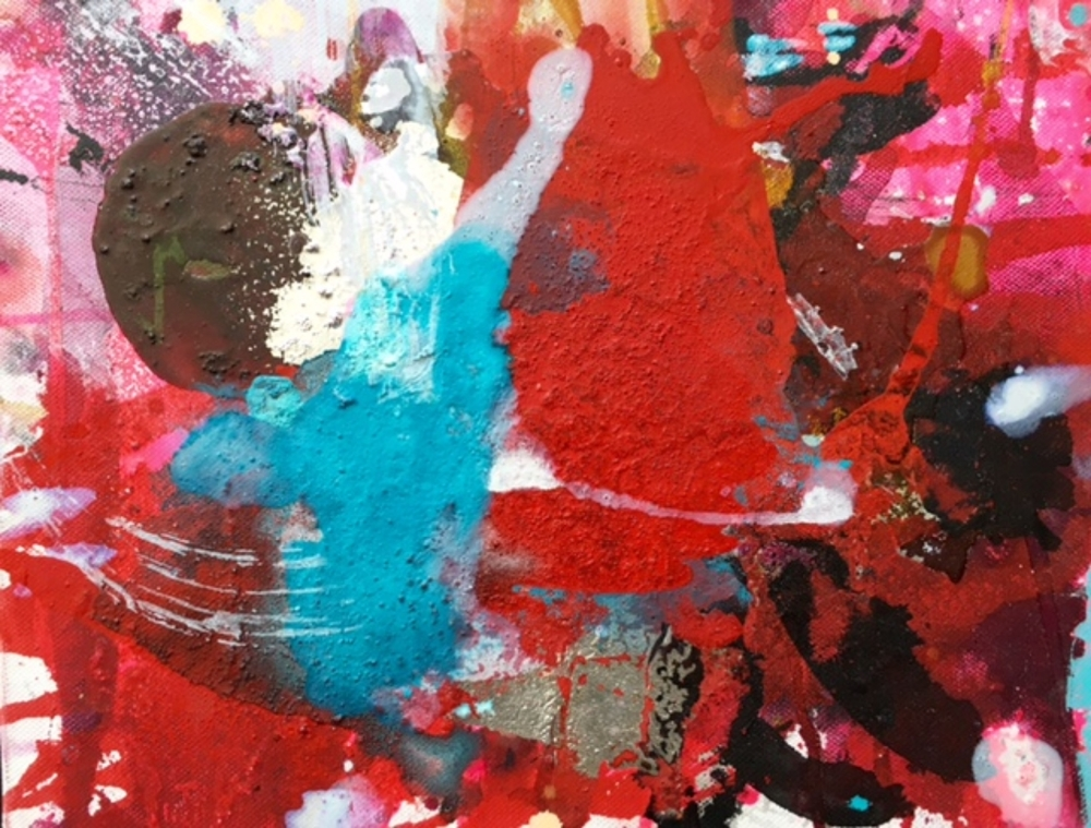 Ralph Gelbert  'Darling II'  Mixed media on canvas  27.5 x 35.5 cm