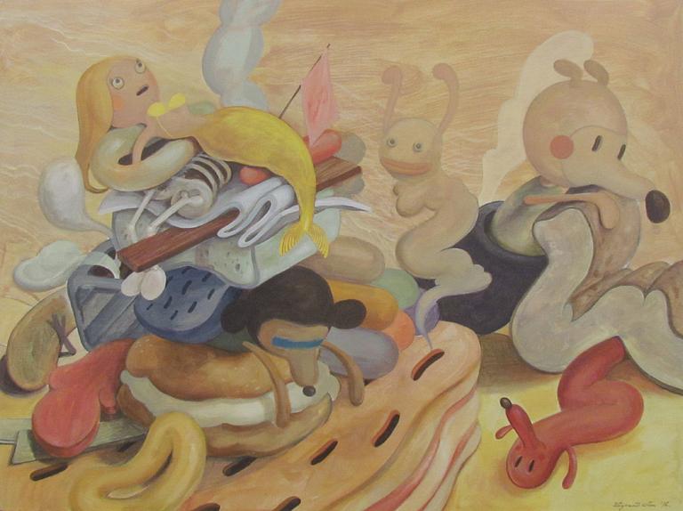 Wim Legrand  'Brouhaha'  Acrylic on board  60 x 80 cm