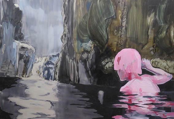 Lizza Littlewort  Flesh Reflection  Oil on alumnium  52 x 77 cm