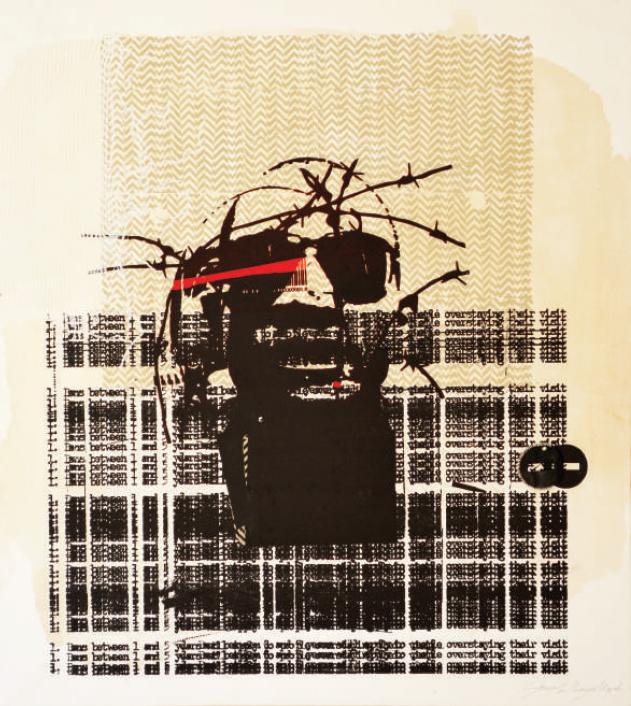 Mukudzei Muzondo  'Stranger 2'  Serigraph, ink & rubber on canvas  100 x 89 cm
