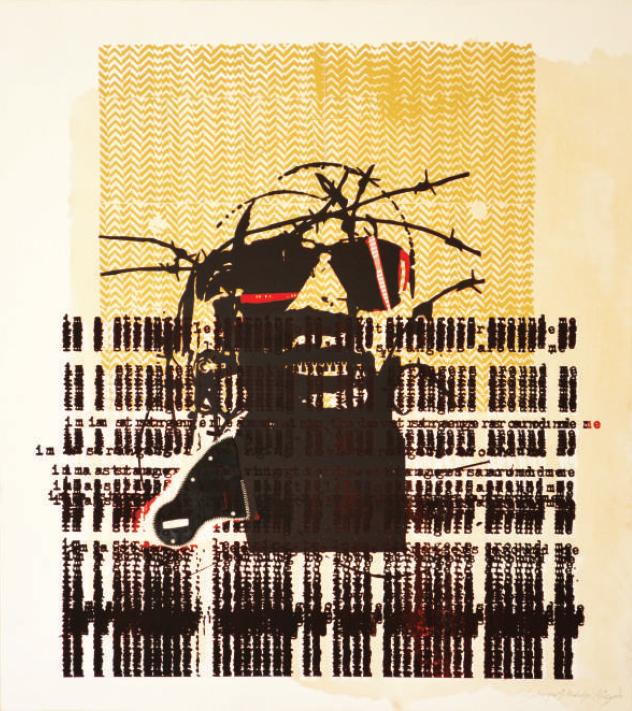 Mukudzei Muzondo  'Stranger 1'  Serigraph, ink & rubber on canvas  100 x 89 cm